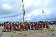 Традиционный племенной танец на фестивале маски Стоковые Изображения RF