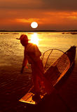 Рыболов, озеро Inle, Myanmar (Бирма) Стоковое фото RF