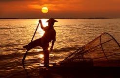 Рыболов, озеро Inle, Myanmar Стоковое фото RF