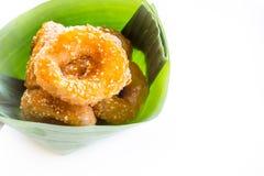 Традиционный тайский донут (ka-nom-wong) десерт тайский Стоковое Изображение