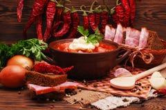 Традиционный украинский борщ супа свеклы Стоковая Фотография RF