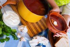 Традиционный украинский горячий борщ супа Стоковые Фотографии RF