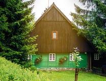 Традиционный фронт шале горы, коричневых и зеленых Стоковые Фото