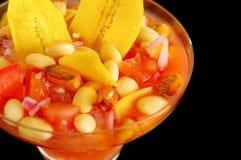 Традиционный эквадорский холодный томат основал блюдо с chochos, луками и обломоками банана, элегантным представлением ресторана Стоковые Изображения