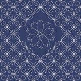 Традиционный японский орнамент вышивки с rhombs и Сакура цветут Стоковое фото RF