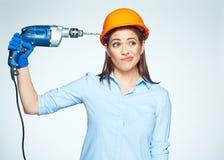 Тревога здания с женским работником построителя Стоковое Фото