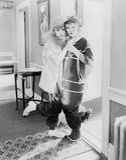 Тревоженые женщины в костюме (все показанные люди более длинные живущие и никакое имущество не существует Гарантии поставщика что Стоковое Фото