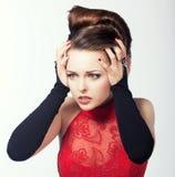 Тревожность. Женщина в эмоциональном стрессе и фрустрации. Тоскливость & дискомфорт Стоковое Изображение RF