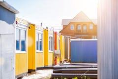 Трейлеры работников архитектурноакустическая принципиальная схема здания мой личный проект Стоковые Изображения