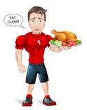 Тренер фитнеса шаржа с здоровой едой Стоковые Изображения