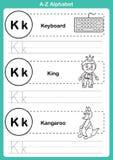 Тренировка алфавита от начала до конца с терминологией шаржа для книжка-раскраски Стоковые Фотографии RF
