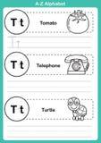 Тренировка алфавита от начала до конца с терминологией шаржа для книжка-раскраски Стоковая Фотография
