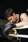 Тренировка боксера в боксерском ринге в сторону смотрящ Стоковое Фото