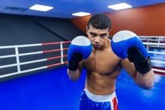 Тренировка боксера в боксерском ринге Стоковая Фотография RF