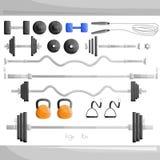 Тренировка веса спортзала разрабатывает установленную иллюстрацию Стоковое Изображение RF