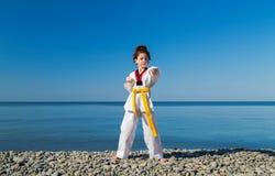 Тренировка девушки на пляже: Тхэквондо, спорт Стоковые Изображения RF