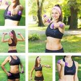 Тренировка женщины фитнеса тонкая с гантелями Стоковая Фотография RF