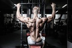 Тренировка диеты человека красивой силы атлетическая нагнетая вверх заднюю мышцу Стоковая Фотография