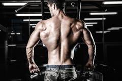 Тренировка диеты человека красивой силы атлетическая нагнетая вверх заднюю мышцу Стоковая Фотография RF
