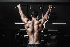 Тренировка диеты человека красивой силы атлетическая нагнетая вверх заднюю мышцу Стоковое фото RF