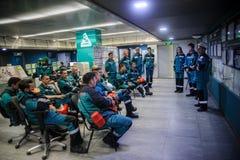 Тренировка инженеров в диспетчерском пункте стоковые изображения