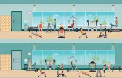Тренировка и оборудование фитнеса cardio с людьми в спортзале фитнеса иллюстрация штока
