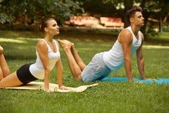 Тренировка йоги Молодые пары размышляя в парке лета Стоковое фото RF