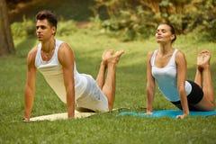 Тренировка йоги Молодые пары размышляя в парке лета Стоковые Изображения