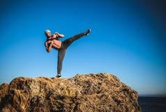 Тренировка карате на берегах Стоковая Фотография RF