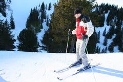 тренировка катания на лыжах Стоковое Изображение