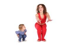 тренировка мати младенца Стоковая Фотография