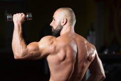 Тренировка плеч с гантелью в спортзале Стоковые Изображения RF
