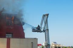 тренировка пожарных пожарного действия Стоковое Фото