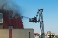 тренировка пожарных пожарного действия Стоковые Фото