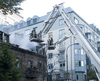 тренировка пожарных пожарного действия Стоковые Фотографии RF