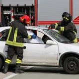тренировка пожарных пожарного действия Стоковое Изображение