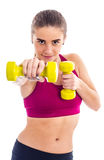 Тренировка подростка с гантелью Стоковая Фотография RF