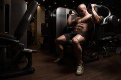 Тренировка трицепса в спортзале Стоковое фото RF