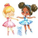 Тренировка характера пар подруги балерины Милый Афро-американский ребенок нести голубое платье балетной пачки и представление Poi бесплатная иллюстрация