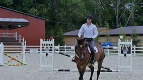Тренировка человека, который нужно ехать на лошади видеоматериал