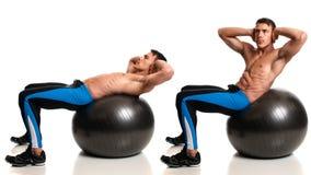 Тренировка шарика стабильности стоковые фото