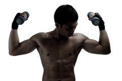 Тренировка людей Yong мышечная с гантелями стоковая фотография