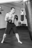 Тренировка Kickboxer в спортзале Стоковые Фото