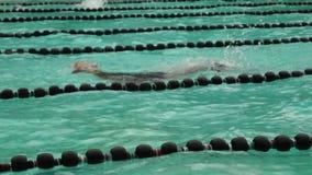 Тренируют мужчин rigorously в ходе бабочки для входящего события заплывания атлетических спорт публика случая сток-видео