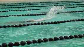 Тренируют мужчин rigorously в ходе бабочки для входящего события заплывания атлетических спорт публика случая акции видеоматериалы