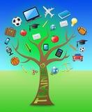 Тренируя дерево показывает учить иллюстрацию Webinars 3d бесплатная иллюстрация