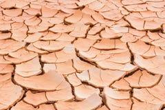Треснутая земля почвы, земля настолько длиной безводная, конец-вверх засухи Стоковое Изображение