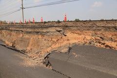 Треснутая дорога асфальта Стоковая Фотография