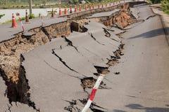 Треснутая дорога асфальта Стоковая Фотография RF