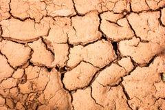 Треснутая почва во время предпосылки засушливого сезона Стоковая Фотография RF